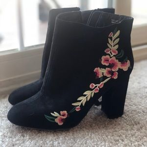 Primark Black Embroidered Suede Floral Booties NWT